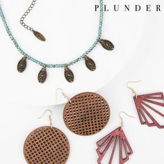 Plunder August 2020 Posse Plunder Jewelry, Plunder Design, Stackable Bracelets, Wood Earrings, Antique Gold, Vintage Inspired, Jewelry Design, Bling, Beads