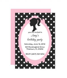 Free Glamour Doll Printable Party Invitation from printablepartydecor.com