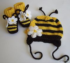 Baby Bee Set Hat and Booties - this might be knit with crochet flowers