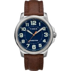 Timex Men and Expedition Metal Field Watch - Blue. Mens Sport Watches, Watches For Men, Timex Expedition, Field Watches, Brown Leather Strap Watch, Grey Watch, Timex Watches, Bangle Set, Blue Brown