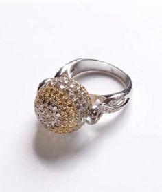 Carolyn Rodney Diamond Spinning Ball Ring - 18k white gold, white, champagne & brown diamonds.