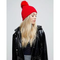 0e00565d7e3 ASOS Bright Red Rib Beanie With Faux Fur Pom ( 20) ❤ liked on Polyvore  featuring accessories