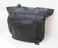 Black Leather Tote  Vintage Oversized Purse Office by mimileather, $48.00