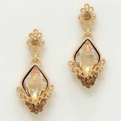 Dynasty Crystal Floral Earrings Gold Peach