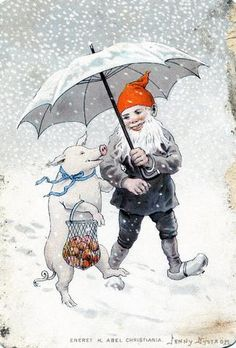 Gnome & The Pig Cristmas Walk..Apples Paraply Winter Snow Happy Merry Jenny Nyström Jenny Nystrom Sweden 1854 - 1946  | Flickr - Photo Sharing!