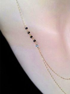Birthstone necklace Black Spinel gemstone & by MiritLevinJewelry