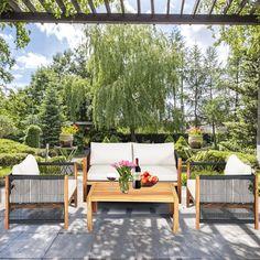 Rattan Sofa, Loveseat Sofa, Sofa Set, Outdoor Wood Furniture, Patio Furniture Sets, Single Chair, White Cushions, Outdoor Living, Outdoor Decor