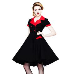 HELL-BUNNY-LOVE-DAY-BLACK-RED-RETRO-1950S-VINTAGE-FIT-N-FLARE-SHIRT-SWING-DRESS