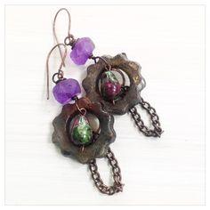 Rustic cog earrings - purple recycled glass earrings by UtterlyLovelyStuff on Etsy Handmade Jewelry, Unique Jewelry, Handmade Gifts, Cogs, Glass Earrings, Recycled Glass, Petra, Recycling, Pendant Necklace