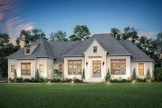 Plan Open Concept French Country House Plan with Bonus Room Expansion This wonderful 4 bedroom, open-concept, French Country house plan offers an over-sized great room with vaulted ceilings and a flexible bonus room over the spacious g French Country Exterior, French Country House Plans, Modern French Country, French Country Farmhouse, French Country Bedrooms, Farmhouse Plans, Modern Farmhouse, Farmhouse Style, Farmhouse Design