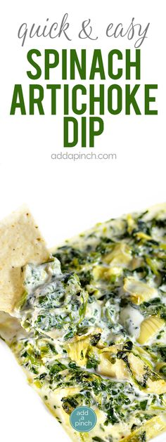 Hot Spinach Artichoke Dip makes a delicious dip for so many occasions. This family favorite spinach artichoke dip recipe is one that you are sure to love! // addapinch.com