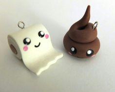 'Poo charm' bedels, by Zwergplumploris via DaWanda That's the cutest crap I've ever seen. Cute Polymer Clay, Cute Clay, Polymer Clay Miniatures, Polymer Clay Charms, Dyi Crafts, Clay Crafts, Fimo Kawaii, Cute Squishies, Cute Toys
