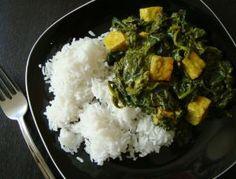 """Vegan Indian paneer cheese substitute recipe: I used my paneer to make vegan Indian palak """"paneer"""""""