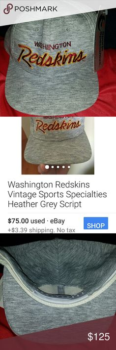 Washington redskins snap back cap. Rare This dead stock heather grey script cap is rare. Did research and found two Used caps at 75.00 each. Mine is mint new with tags. I will look at offers .these grey ones are the rarest.  1992 stock sports specialties  Accessories Hats