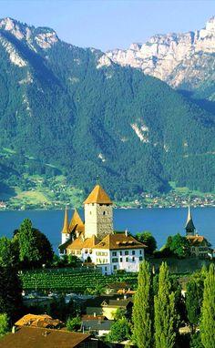 Spiez Castle on Thunersee in Spiez, Bern, central Switzerland