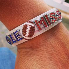 Custom made Ole Miss leather Charmsations bling bracelet!  $15 plus shipping.  Create yours at http://www.charmsations.com/#Carol