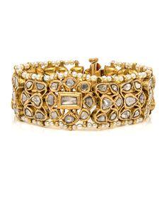 Image of Jayshree Dalal Antique Polki Diamond and Seed Pearl Bracelet