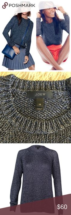 NEW J. Crew Metallic Side Slit Sweater BRAND NEW without tags! MINT condition! This sweater is SO MUCH more gorgeous in person... Imitate fortunately the camera just won't pic up the metallic thread/material (please see last pic for the best look at the material up close) Retail for $128 was part of the 2015 collection so only a year old. Light weight, but festive so would be great for Fall, holidays as well as spring! J. Crew Sweaters Crew & Scoop Necks