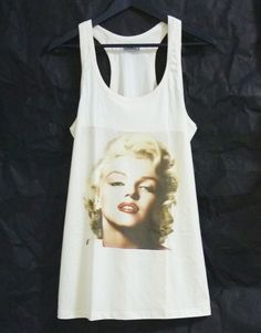 Marilyn Monroe tank top dress off white shirt/ teen girl women tunic top/ teen girl clothes gift ideas size M medium from WorkoutShirts on Etsy. Tank Top Dress, Tank Top Shirt, Dress Shirt, Tee Shirts, Off White Tees, White Tops, Cami Tops, Tunic Tops, Teen Girl Outfits