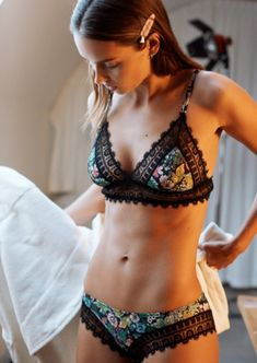 We Can't Wait For H&M's New Lifestyle Brand To Launch - $39 &Other Stories Beautiful Scalloped Multicoloured Floral Patterned Black Lace Trim Bra
