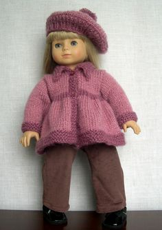 "18 inch Doll Clothes Hand knit doll sweater and hat made to fit 18"" dolls like American Girl Gotz doll Lily is modeling my version of a free pattern from raverly Flared Sweater for 18 inch Dolls by Janet Longaphie (made by Barb Marlee)"