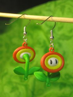 Super Mario Earrings  Fire Flower by Jirges on Etsy, $9.00