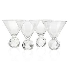 crystal martini glasses - perfect for an engagement gift or party since the base looks like diamonds! $38.50