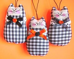 Halloween CAT Ornaments Set of  3 Ornies Bowl by CharlotteStyle, $21.00