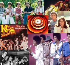 This collage of pictures displays the style of music that was big in the 70s, such as disco.