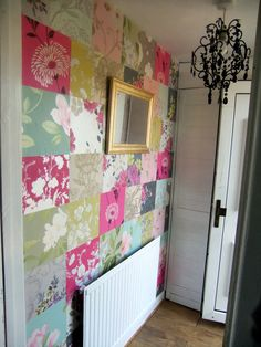 Wallpaper patchwork. This would be so cute on one wall in a nursery.