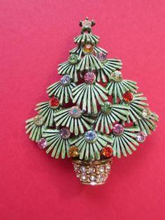 Older Vintage Enamel Evergreen Christmas Tree Pin Brooch Colored Rhinestones | eBay