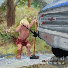 Boy Attempts To Jack Up Truck by Marilyn Nolan-Johnson by Marilyn Nolan-Johnson