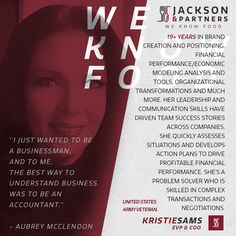 Meet Jackson & Partner's All-Star Roster - Kristie Sams, Partner, COO/EVP. Kristie is very proud to be apart of Jackson & Partners Executive Team, there are a lot of challenges building and owning a company however Kristie's drive is far greater than just building a successful company, it is about creating global relationships with suppliers and strategic partners, about building a company that our employees can learn immeasurable business lessons, grow beyond the limits even they have given…