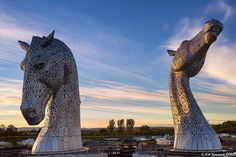 The Kelpies are two giant horse head sculptures standing next to the Forth and Clyde Canal in Falkirk, Scotland. Designed by Andy Scott, each installation is 30 meters high feet) made from structural steel with a stainless steel cladding. Horse Head, Horse Art, Performance Artistique, Tachisme, Year Of The Horse, Colossal Art, Horse Sculpture, Art Sculptures, Louise Bourgeois