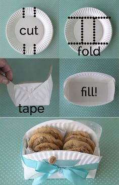 DIY Cookie Basket Made From A Paper Plate Use a decorative plate.