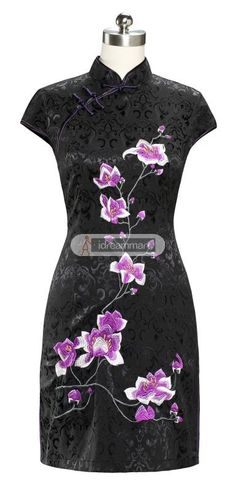 #idreammart Vintage Black Cotton Short Sleeve Orchid Embroidery Mini Chinese Dress - iDreamMart.com
