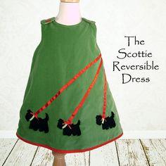 Reversible pattern, Childrens sewing pattern, Girls dress pattern, PDF, Baby sewing pattern, beginner, Instant Download, SCOTTIE DRESS