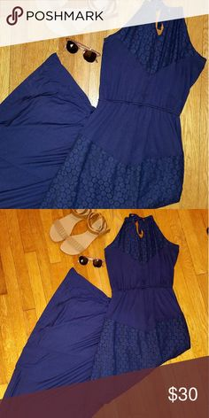 ??Navy Blue crochet maxi dress Important note: This dress is much more muted navy blue than in the photos.   Beautiful crochet floral breaks this dress into proportioned sections. Very simple yet detailed. Great for a beach night dinner or day out.  Material: Shell:  95% vortex viscose  5% spandex Lining: 86% cotton 14% nylon Charming Charlie Dresses Maxi