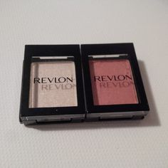 "Revlon ColorStay Shadow Links - ""Oyster"" (metallic) and ""Melon"" (satin). The melon is very lightly swatched."
