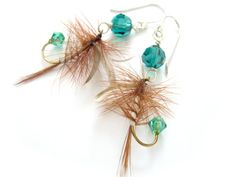 Brown and Emerald Green Upcycled Fishing Lure by Raynecloud