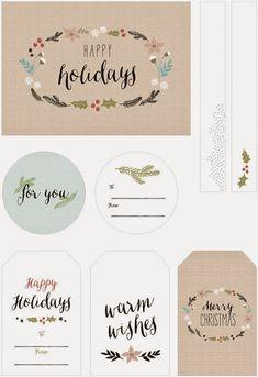 Oh So Lovely: Free Printable Holiday Gift Tags Noel Christmas, Christmas Wrapping, Christmas Wishes, All Things Christmas, Christmas Gifts, Xmas, Christmas Lunch, Christmas Tables, Nordic Christmas
