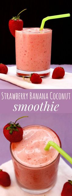 Strawberry Banana Coconut Smoothie - a healthy sweet treat that makes a satisfying and refreshing breakfast, snack or dessert | http://cupcakesandkalechips.com | gluten free, vegan, dairy free