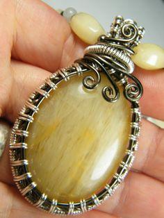 Woven wire wraped natural Golden quartz by NoStoneLeftUnturned, $55.00