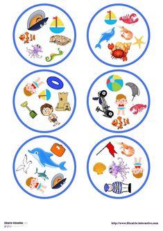 Une version du célèbre jeu de DOBBLE sur le thème de la plage. Picture Boards, Play To Learn, Board Games, Kids Toys, Free Printables, Kindergarten, Decorative Plates, Animation, Activities
