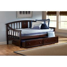 Alexander Deep Brown Daybed with Roll-Out Trundle