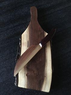 Walnut cheese board with walnut and Purple Heart knife by Boards, Woodworking, Cheese, Purple, Heart, Planks, Woodwork, Purple Stuff, Joinery