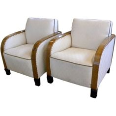 Art Deco Club Chairs with Diamond Fabric | From a unique collection of antique and modern lounge chairs at https://www.1stdibs.com/furniture/seating/lounge-chairs/