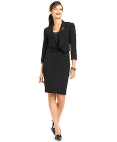 Tahari by ASL Suit, Shawl-Collar Pinstripe Jacket & Skirt - Womens Suits & Suit Separates - Macy's