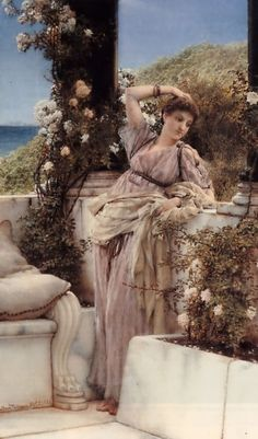 "Sir Lawrence Alma-Tadema     Dutch/British    1836 - 1912    ""Thou Rose of All the Roses"""