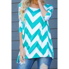 $13.42 Stylish Scoop Collar 3/4 Sleeve Striped Color Block Women's T-Shirt